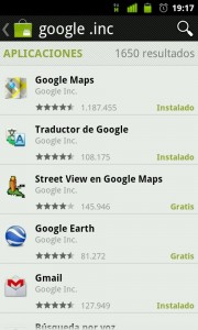 Google apps en Android Market