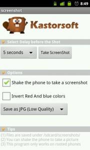 Pantalla de app para tomar capturas de pantalla en android