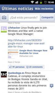 Time Line de facebook en la app de android.