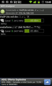 Resumen de redes wifi disponibles. Android.