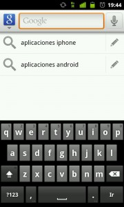 Busquedas en la aplicacion google search