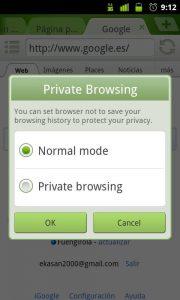 Iniciar navegación privada en Dolphin Browser App para Android