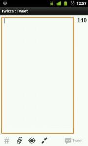Pantalla de Twicca en Blanco. App para Android