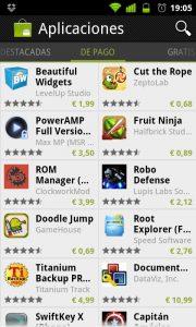 Screenshots de la nueva app de Android Market