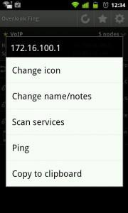 Opciones de host en Fing Overlook. App para Android.