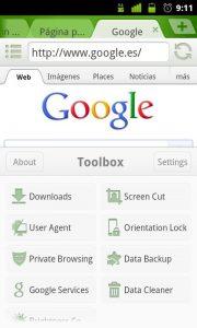 Pantalla de opciones en Dolphin Browser App para android