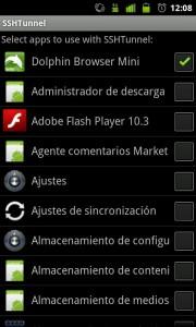 Seleccion de programas que usaran en tunel, Android