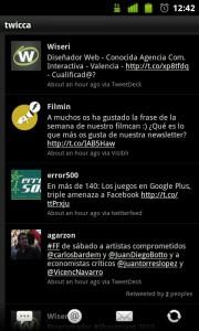 Twicca, aplicación para twitter en Android
