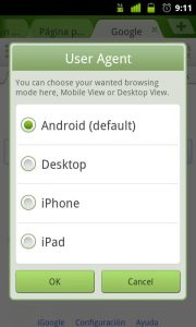 Seleccion de User Agents en Dolphin Browser para Android