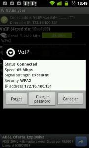 Ventana de información de redes wifi.