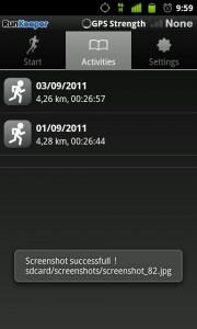 Actividades guardadas en RunKeeper para Android
