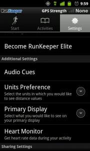 Ajustes de RunKeeper en ANdroid.