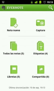Evernote en Android. App para tomar notas.