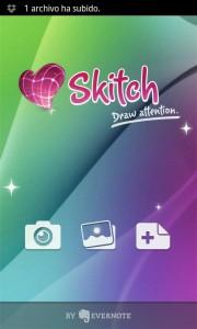 Pantalla de inicio de Skitch en Android