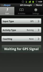 Pantalla principal de RunKeeper para Android.