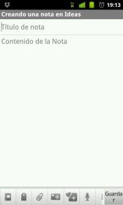 Escribiendo una nota en Evernote. App Android.