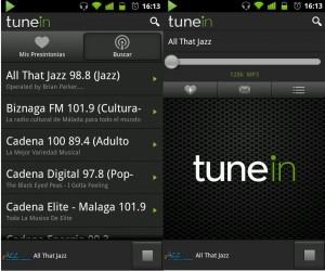 TuneIn radio en Android