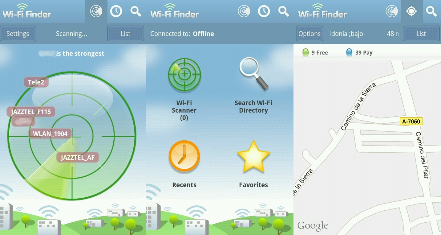 Wifi Finder, sed de datos.