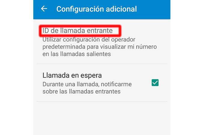 configuración de id de llamada en android